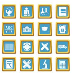 school icons azure vector image