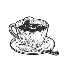 sea storm in cup tea sketch vector image