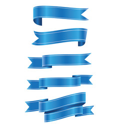 set of blue ribbon banner ico vector image