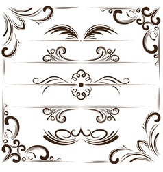 Set of bookplates and corners for design vector