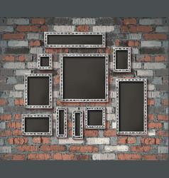 set silver vintage frames vector image