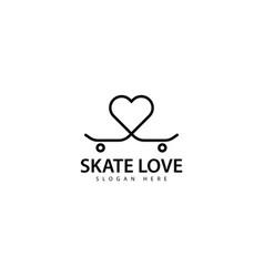 Skateboard love logo design icon vector