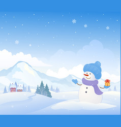 Snowman and mountains background vector