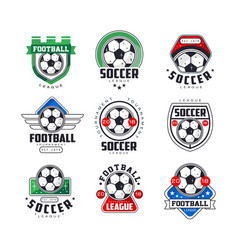 Soccer league or tournament logo templates set vector