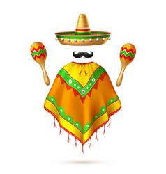 Sombrero mexican hat mustache cinco de mayo vector