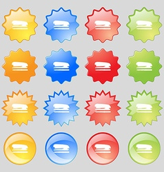 Stapler and pen icon sign Big set of 16 colorful vector image