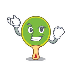 Successful ping pong racket character cartoon vector