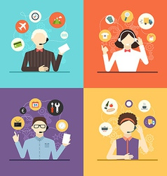 Technical support banners set assistant mans vector