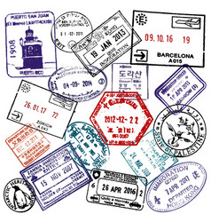 Travel and visa passport stamps background vector