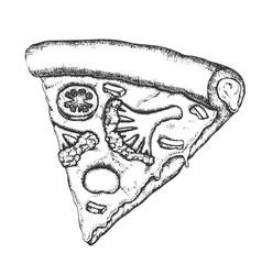 Vegetarian italian slice pizza monochrome vector