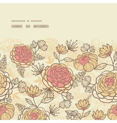 Vintage brown pink flowers horizontal frame vector
