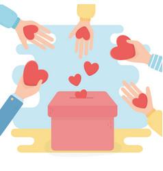 volunteering help charity hands with hearts in vector image