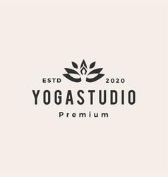 yoga hipster vintage logo icon vector image