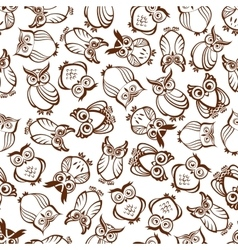 Cute outline brown owls seamless pattern vector image