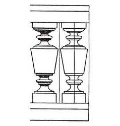 modern baluster turned vintage engraving vector image vector image