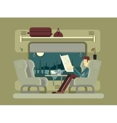 Passenger rides on train vector image