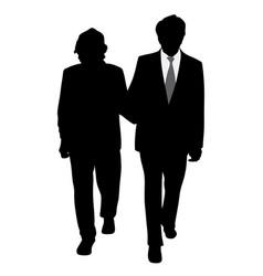 senior couple walking arm in arm vector image