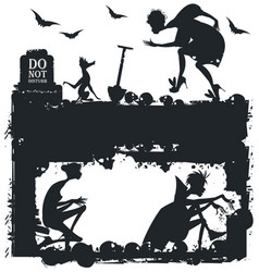 black and white halloween with silhouettes vector image
