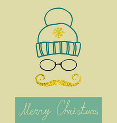 christmas calligraphic design with golden vector image