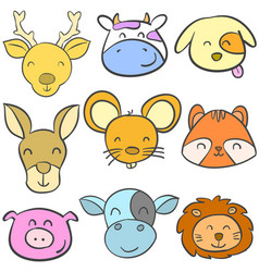 doodle animal cute funny colorful vector image vector image