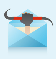 hacker and phishing mail vector image vector image