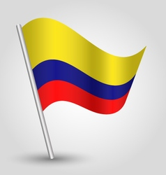 colombian flag on pole vector image vector image
