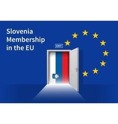 European union flag wall with slovenia flag door vector