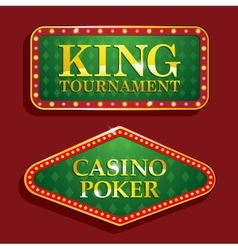 Golden Casino banners isolated on red background vector image vector image