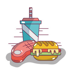 Hamburger with soda in the plastic cup and meat vector
