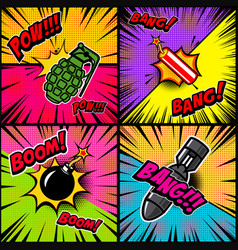 set of comic style bomb explosion design element vector image vector image