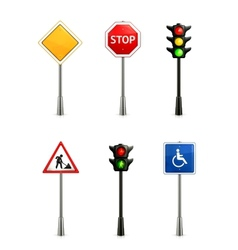 Set of road signs vector image vector image