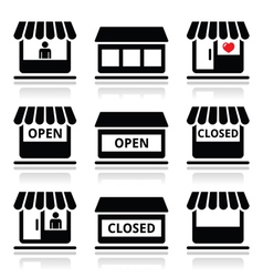 Shop or store supermarket icons set vector image vector image