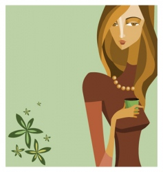 woman with coffee cup vector image vector image
