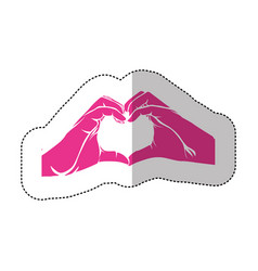fuchsia hand with heart icon vector image