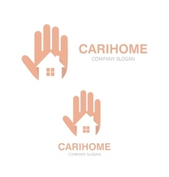 hand and house logo concept vector image