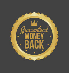 money back guarantee gold sign label vector image