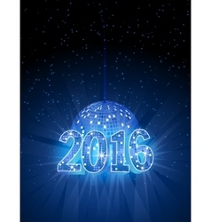Number 2016 with disco blue ball vector image vector image