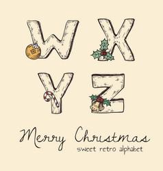 retro christmas alphabet - w x y z vector image
