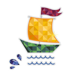 Sailing yacht isolated icon vector