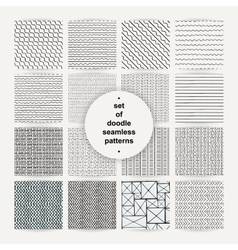 Set of simple doodle seamless patterns vector image vector image