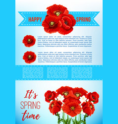 Spring holiday poster with poppy flowers vector