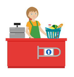 the girl cashier in a grocery supermarket cart vector image vector image