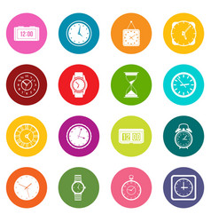time and clock icons many colors set vector image vector image