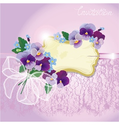 Valentines day or wedding card with pansy vector