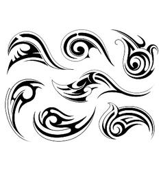 Various ethnic style tattoo swirls vector