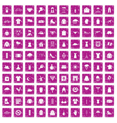 100 clothing icons set grunge pink vector image