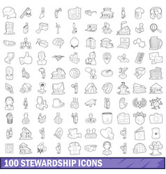 100 stewardship icons set outline style vector image