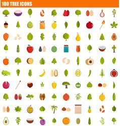 100 tree icon set flat style vector image