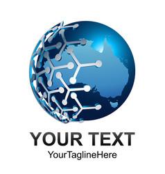 abstract 3d world globe tech globe logo vector image