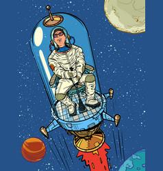 Astronaut starts on a retro rocket space vector